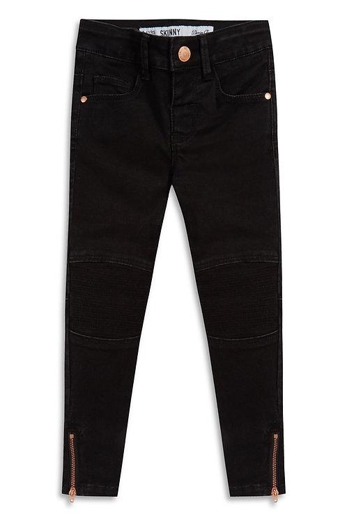 Younger and Older Girl Black Biker Jeans