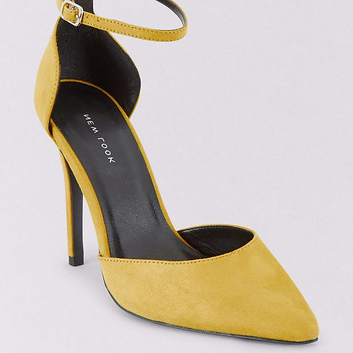 Yellow Suedette Ankle Strap Court Shoes by New Look