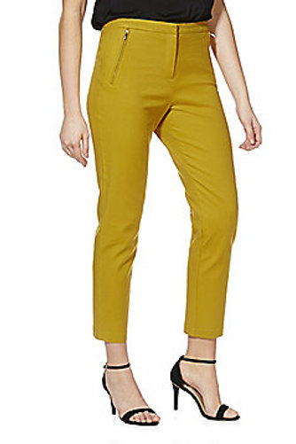 F&F Zip Detail Ankle Grazer Mid Rise Slim Leg Trousers - Mustard