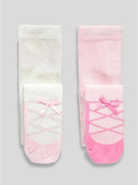 Girls 2 Pack Ballerina Design Tights