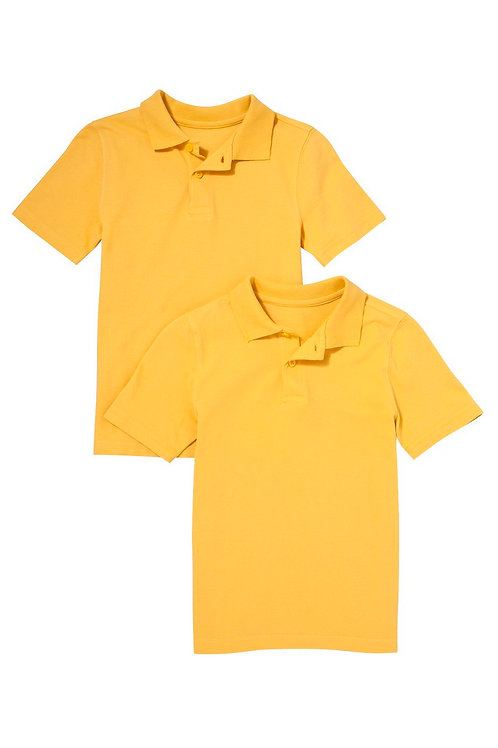 2 Pack of Unisex Polo T-Shirts in Yellow