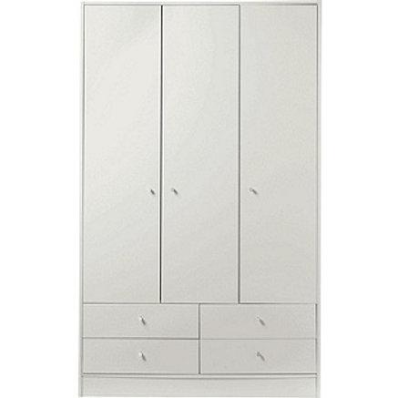New Malibu 3 Door 4 Drawer Wardrobe - White Effect