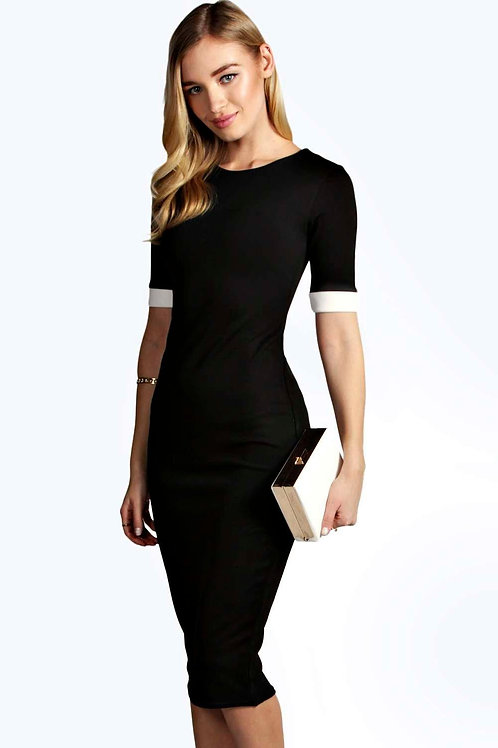 Contrast Cuff Bodycon Midi Dress