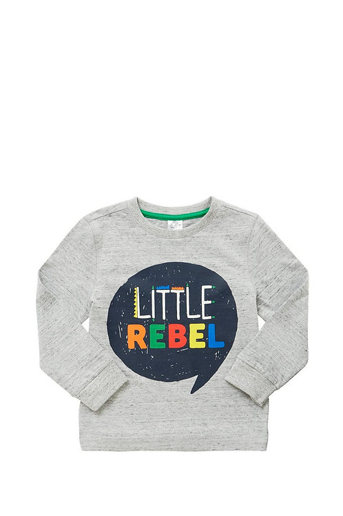 Little Rebel Slogan Long Sleeve T-Shirt