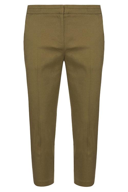 Khaki Slim Fit Crop Trousers