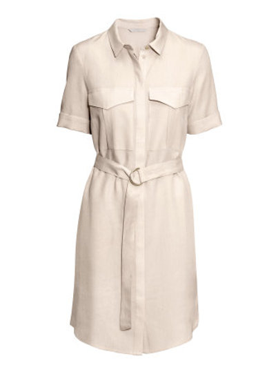H&M beige shirt dress