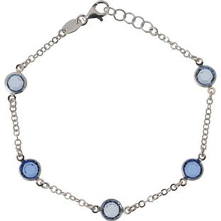 Ladies Opulenza Silver Blue Crystal Bracelet