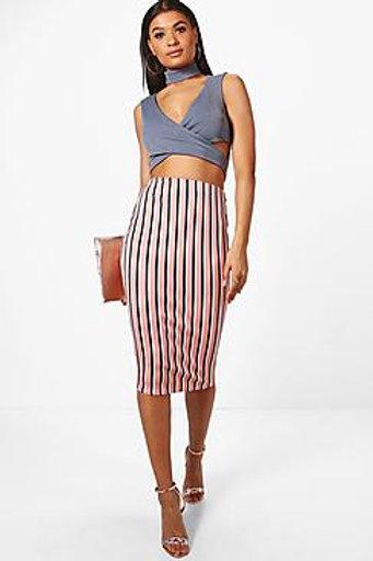 Candy Stripe Midi Skirt