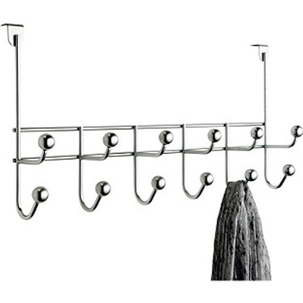 HOME 6 Double Ball Over Door Hooks - Chrome