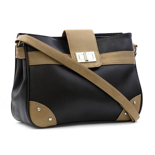 Lilley Black and Tan Shoulder Bag