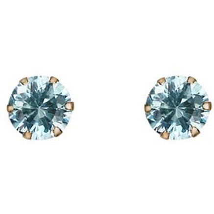 9ct Gold Aqua Cubic Zirconia Stud Earrings.