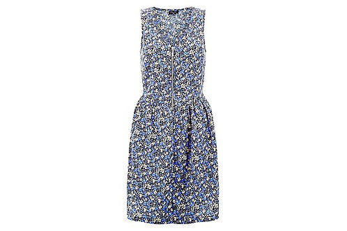 New Look - Blue Ditsy Floral Print Zip Front Dress