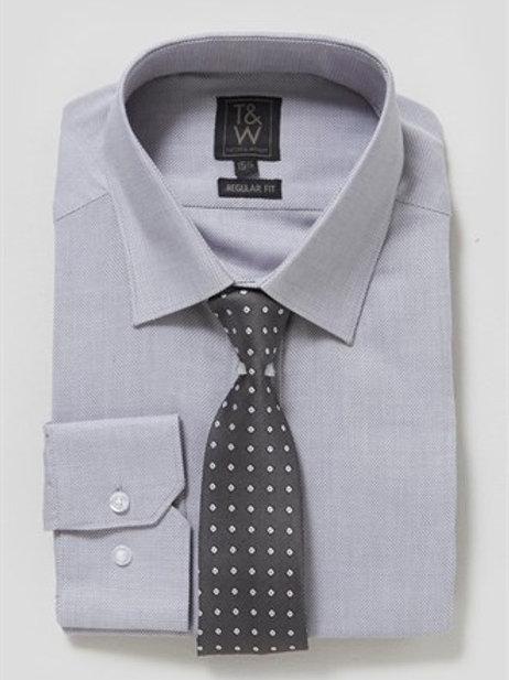 T&W Textured Shirt & Tie Set