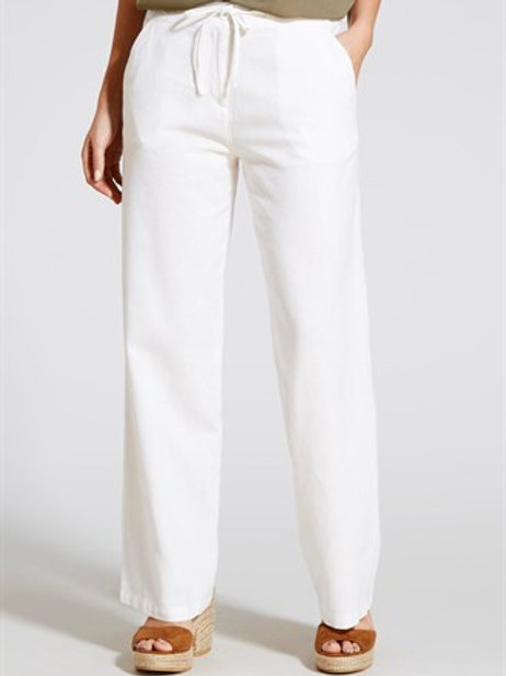 Linen Wide Leg Trousers - White