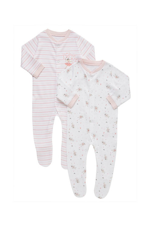 Pink F&F 2 Pack of Fairy Print Sleepsuits