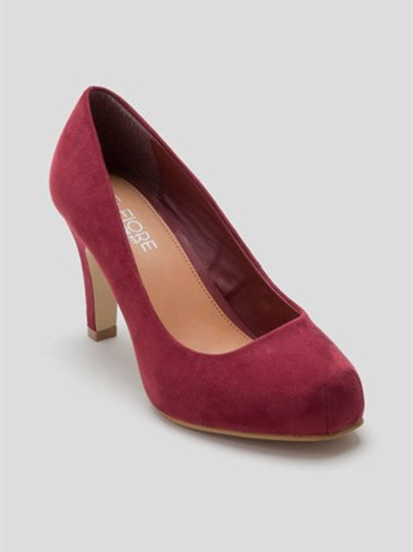 Burgundy wide fit square toe court shoe by Fiore