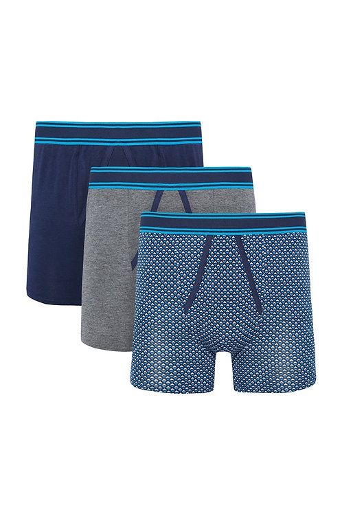 Blue Grey 3 Pack Boxers