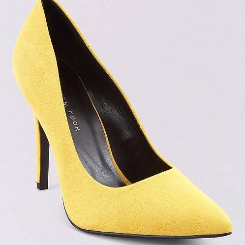 Wide Fit Yellow Suedette Pointed Court Shoes by New Look