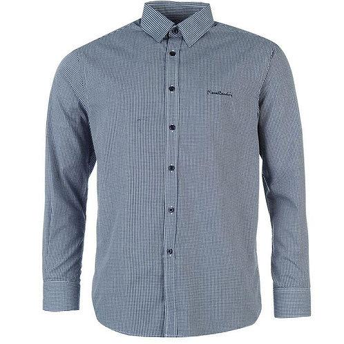 Pierre Cardin Long Sleeve Shirt Men's - Navy Gingham