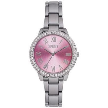 Spirit Ladies' Stone Set Pink Dial Silver Bracelet