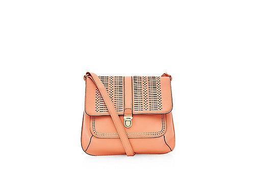 Orange Laser Cut Saddle Bag by New Look