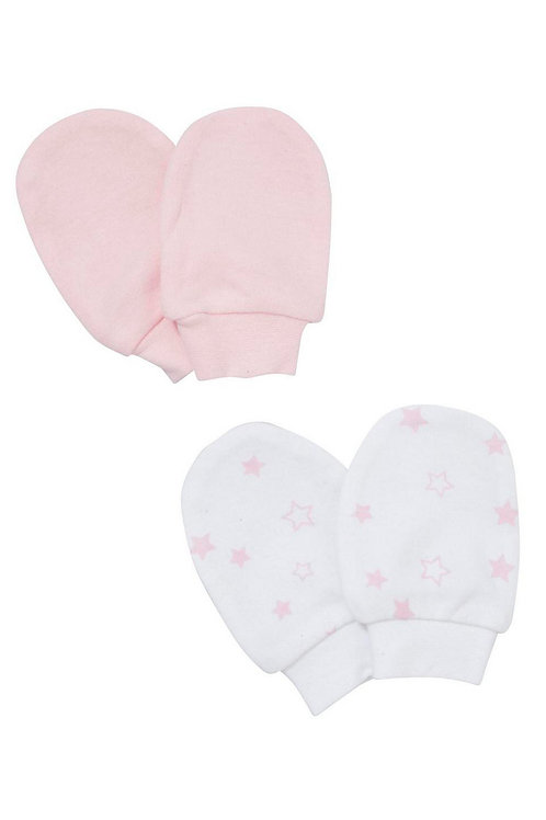 Pink F&F 2 Pack of Star Print Scratch Mitts