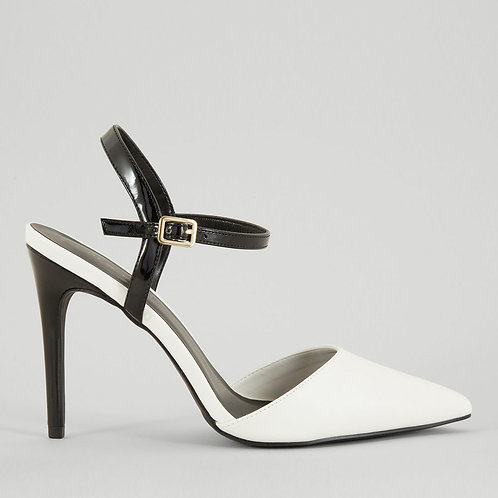 Black Contrast Pointed Toe Court Shoes by New Look