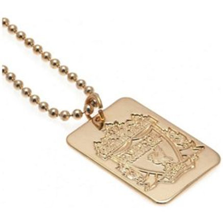 Gold Plated Liverpool Dog Tag & Ball Chain