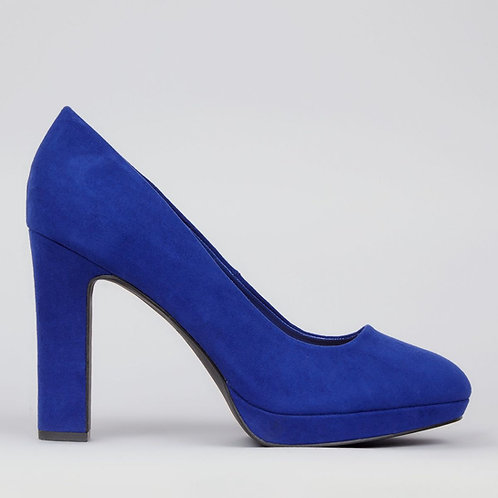 Wide Fit Blue Suedette Court Shoes by New Look