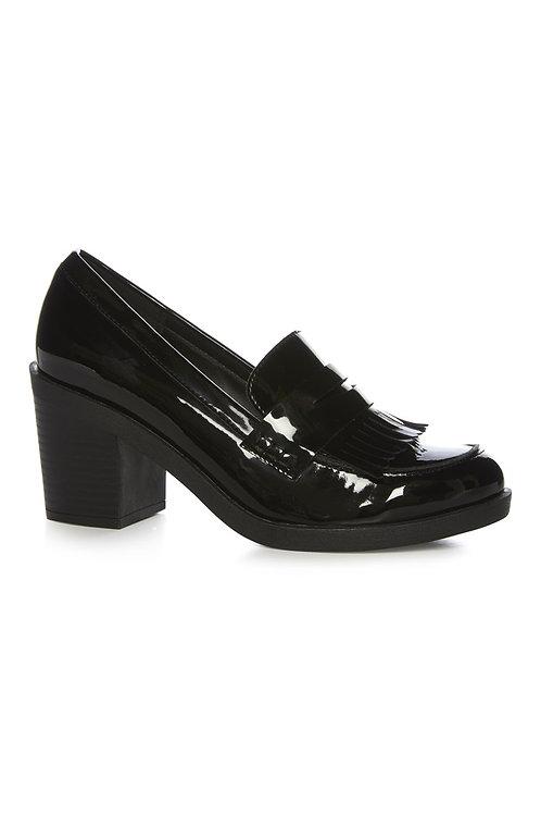 Atmosphere - Black Patent Block Heel Loafer