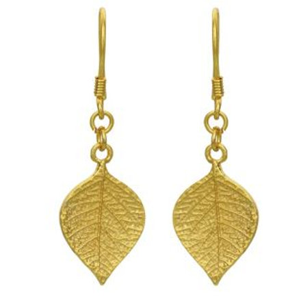 9ct Gold Plated Sterling Silver Leaf Drop Earrings.
