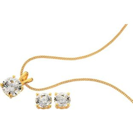18ct Gold Plated 2.00ct Look CZ Pendant / Earrings