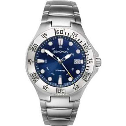 Sekonda Men's Sports Blue Dial Stainless Steel Wat