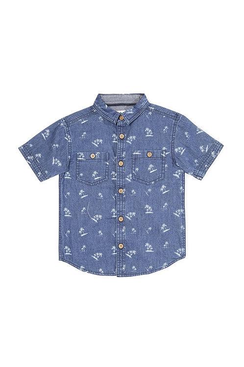 Rebel -Denim Palm Print Shirt 3-4 Yrs