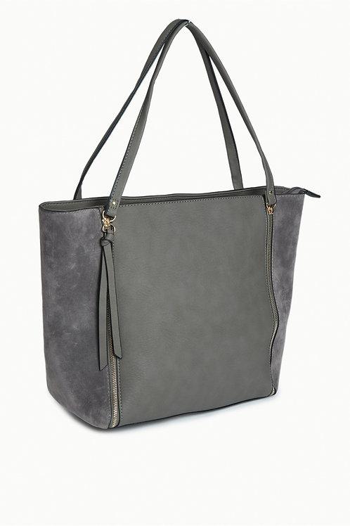 Grey FAUX SUEDE SIDE ZIP SHOULDER BAG