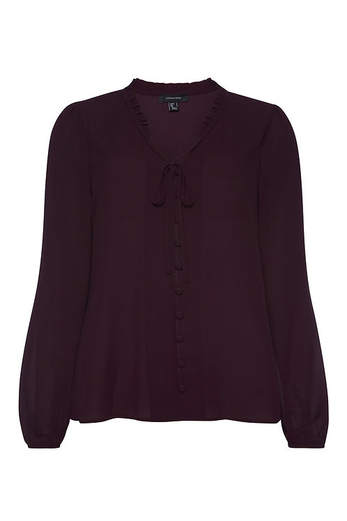 Plum Frill Collar Tie Neck Blouse by Atmosphere