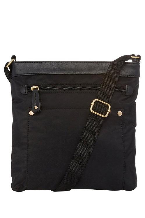 Nylon-Look Cross-body Bag