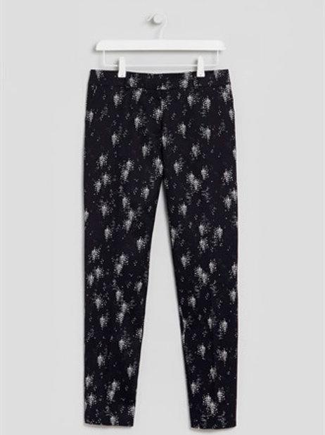 Black Slim Leg Printed Trousers