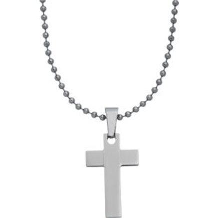 Stainless Steel Ball Chain Cross Pendant for Men