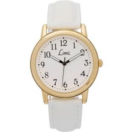 Limit Ladies' Quartz Gold Plated White Strap Watch