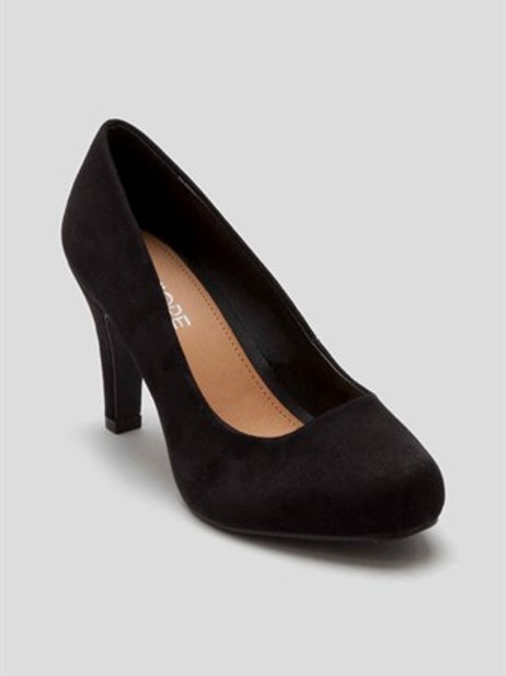 Black wide fit square toe court shoe by Fiore