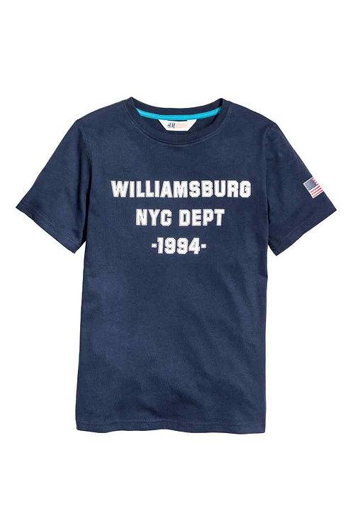 Dark Blue Printed T-shirt
