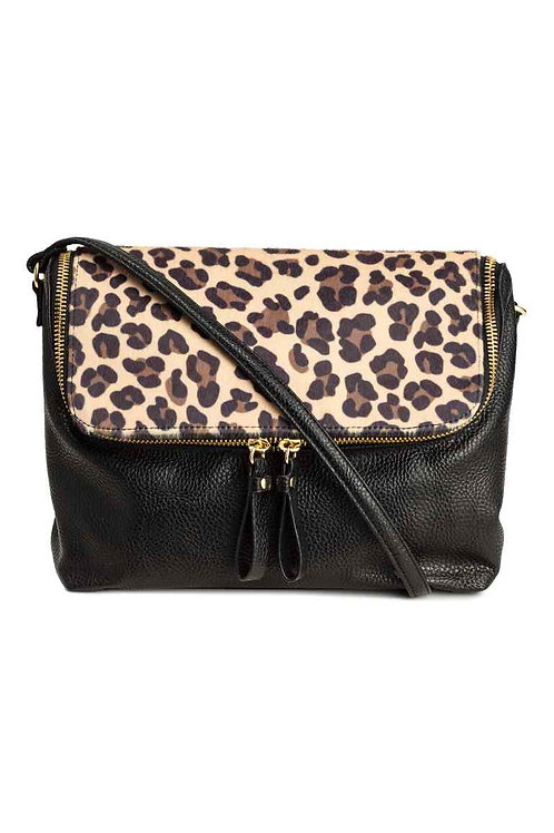 Black/Leopard print Shoulder Bag