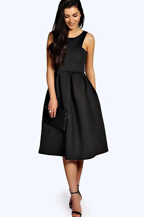 Scuba Cutaway Neckline Midi Dress - Black