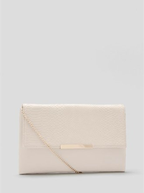 Cream Snake Effect Foldover Clutch