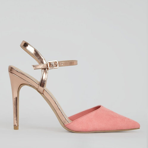 Coral Suedette Metallic Strap Ankle Strap Heels by New Look