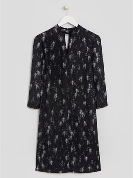 Black Printed High Neck Dress