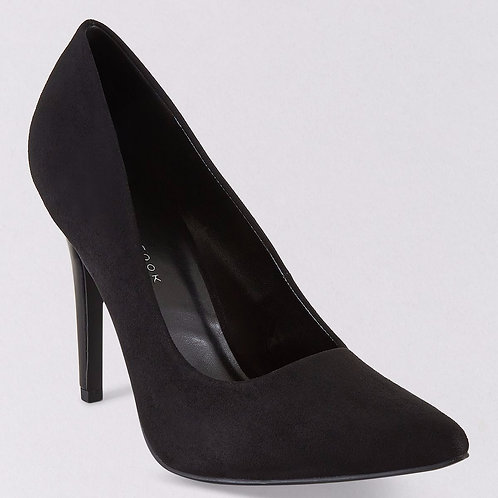 Wide Fit Black Suedette Pointed Court Shoes by New Look