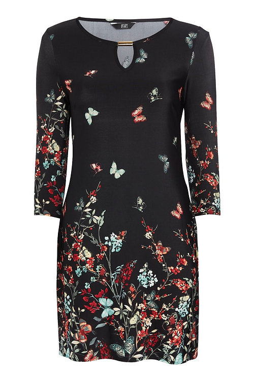 Black F&F Floral and Butterfly Print Gold Dress