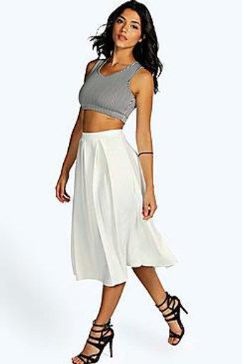Box Pleat Midi Skirt - Ivory